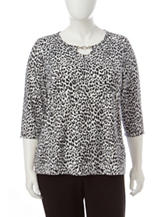 Cathy Daniels Plus-Size Cheetah Print Disco Dot Top