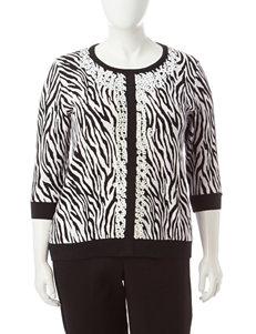 Cathy Daniels Plus-size Zebra Print Sweater