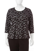 Cathy Daniels Plus-size Faux Leather Trim Sweater