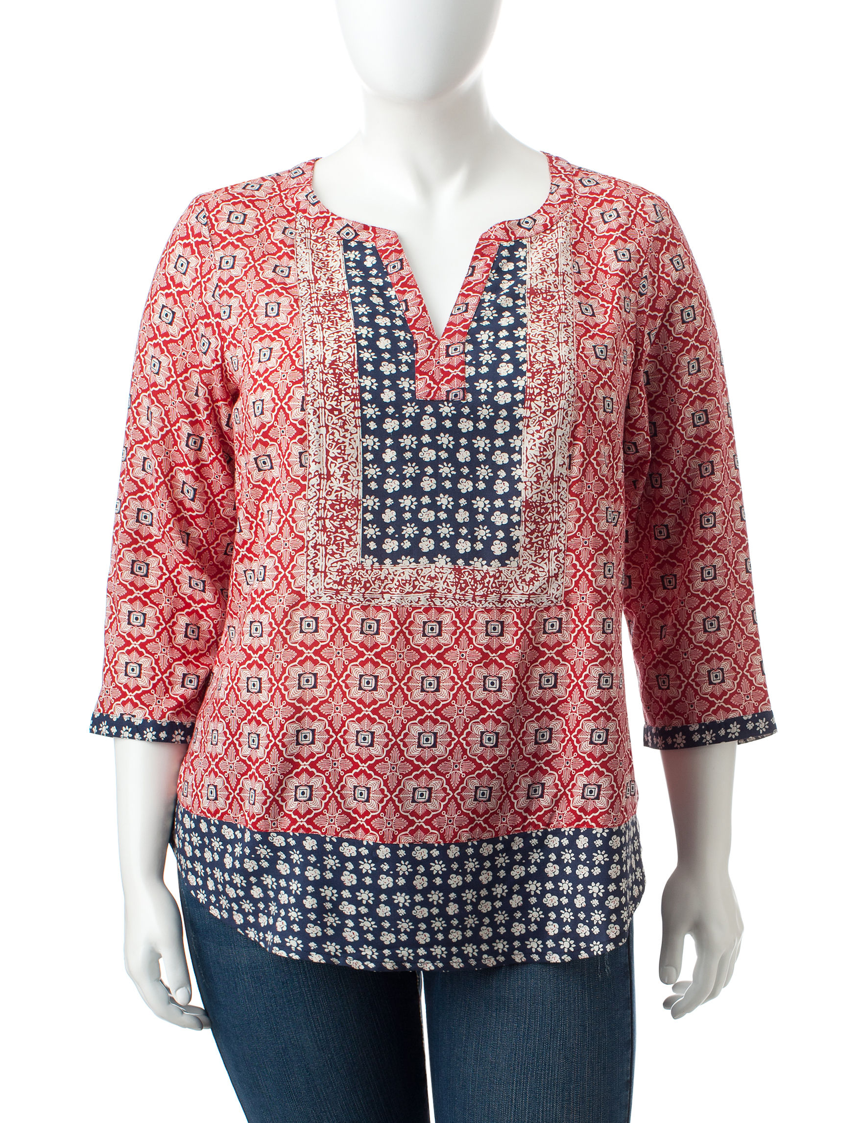 Rebecca Malone Red / Navy Shirts & Blouses