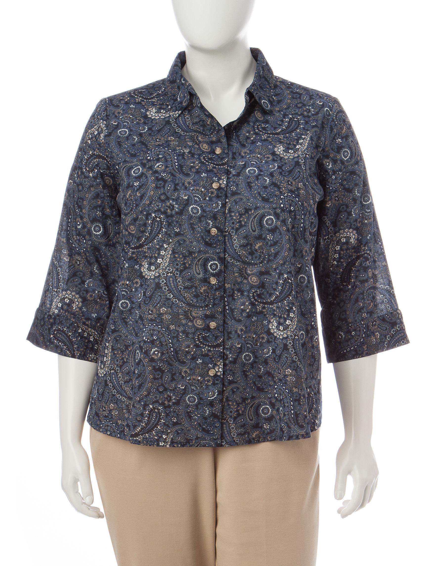 Rebecca Malone Beige / Blue Shirts & Blouses