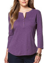 Chaps Plus-size Purple Faux Suede Trim Top