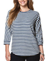 Chaps Plus-size Striped Print Jersey Knit Top