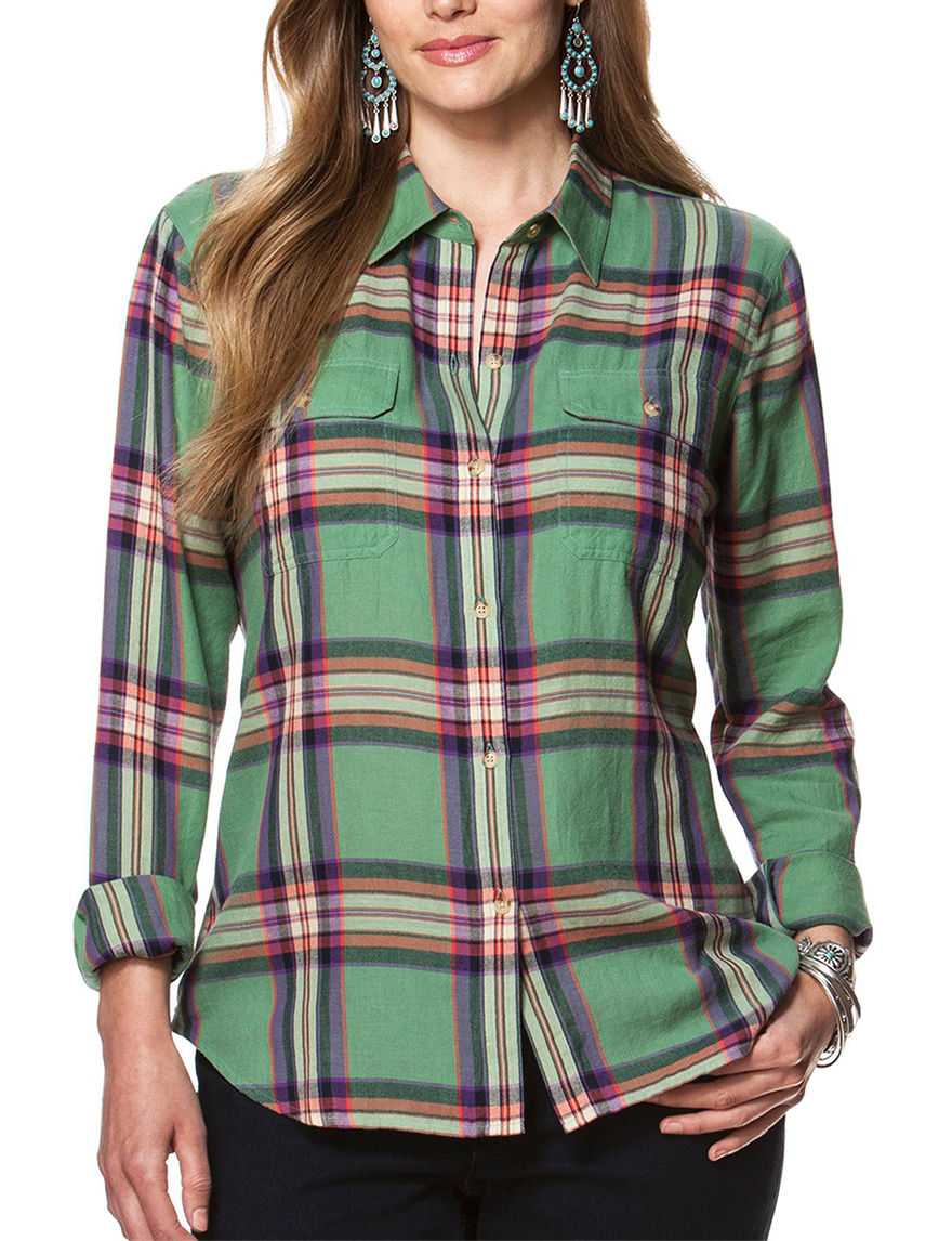 Chaps Green Multi Shirts & Blouses