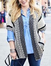 Energé Plus-size Southwestern Print Poncho Sweater Vest