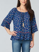 Democracy Plus-size Floral Print Off-the-Shoulder Top