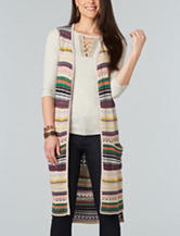 Democracy Plus-size Crochet Striped Sweater Vest