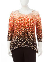 Ruby Rd. Plus-size Ombre Print Sharkbite Knit Top