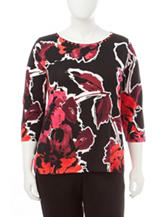 Ruby Rd. Plus-size Floral Print Knit Top