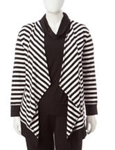 Ruby Rd. Plus-size Striped Print Cardigan
