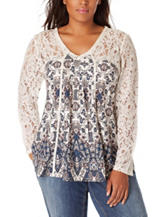 Vintage America Blues Plus-size Boho Print Lace Top