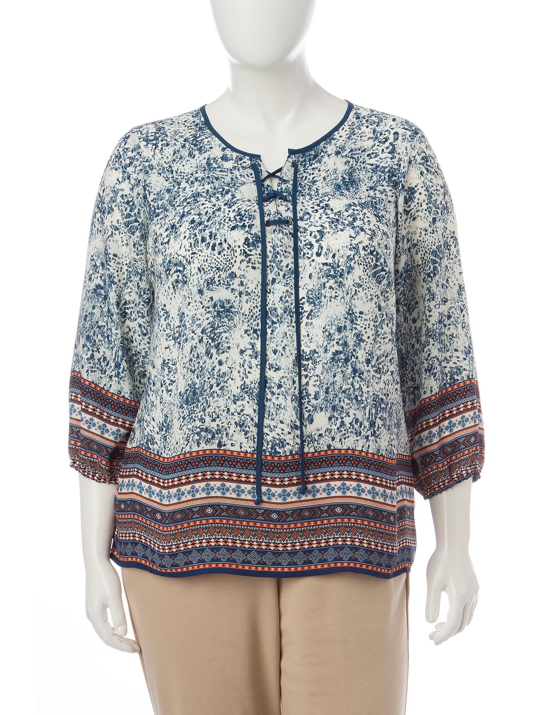 Valerie Stevens Navy / Cream Shirts & Blouses