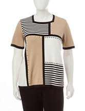 Alfred Dunner Plus-size Color Block Knit Sweater
