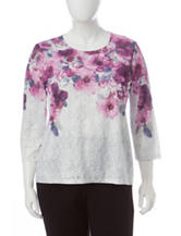 Alfred Dunner Plus-size Burnout Floral Print Top
