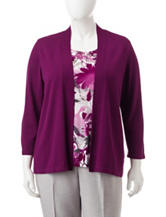 Alfred Dunner Plus-size Floral Print Layered-Look Top