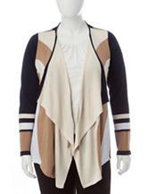 Valerie Stevens Plus-size Flyaway Color Block Cardigan