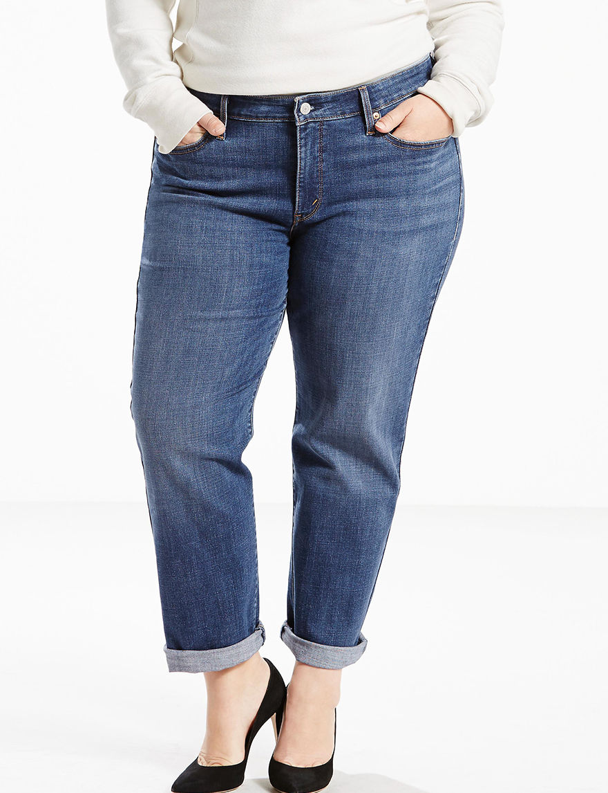 levi 39 s plus size medium wash boyfriend jeans stage stores. Black Bedroom Furniture Sets. Home Design Ideas