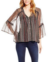 Jessica Simpson Plus-size Aztec Print Peasant Top