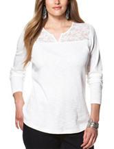 Chaps Plus-size Lace Accent Knit Top