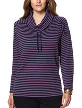 Chaps Plus-size Striped Print Waffle Knit Top