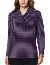 Chaps Plus-size Striped Print Waffle Knit Top