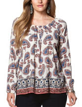 Chaps Plus-size Paisley Print Top