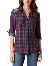 Vintage America Blues Plus-size Plaid Print Top