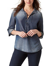 Vintage America Blues Plus-size Chambray Top