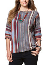 Chaps Plus-size Striped Festival Striped Sweater