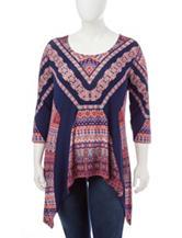 Hannah Plus-size Boho Print Knit Top