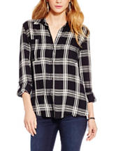 Jessica Simpson Plus-Size Dion Plaid Print Top