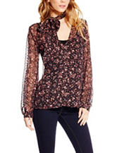Jessica Simpson Plus-size Sheer Floral Print Top
