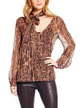 Jessica Simpson Plus-size Sheer Animal Print Top