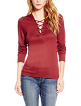 Jessica Simpson Plus-size Lace Up Knit Top