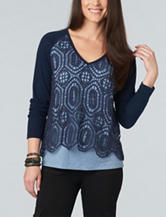Democracy Plus-size Crochet Overlay Knit Top
