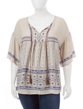 Signature Studio Plus-size Southwestern Print Top