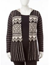 Energé Plus-size Mixed Print Hooded Sweater