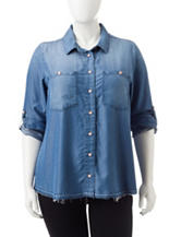 Democracy Plus-size Chambray Woven Top