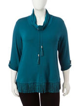 Ruby Rd. Plus-size Fringe Trim Knit Top