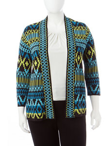 Ruby Road Plus-size Geometric Print Jacquard Cardigan