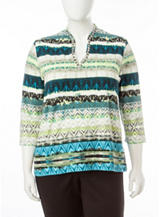 Ruby Rd. Plus-size Aztec Stripe Print Top