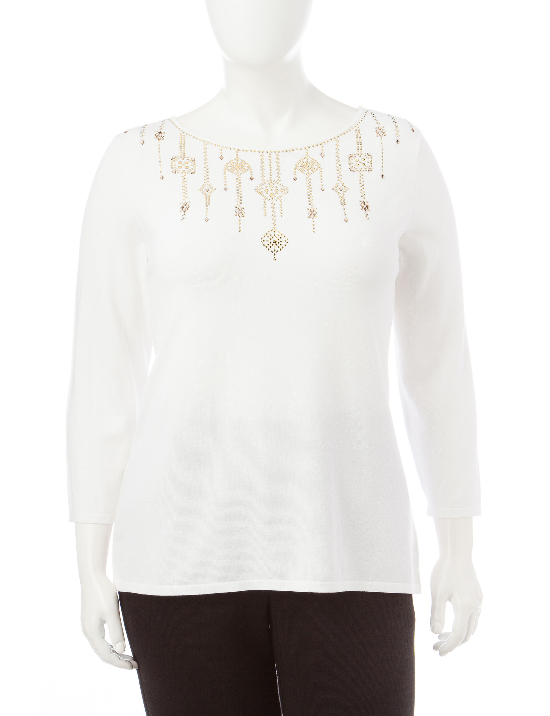 Ruby Road White Pull-overs Sweaters