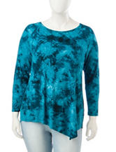 Zac & Rachel Plus-size Tie Dye Print Tunic Top