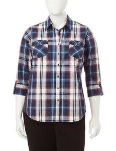 Zac & Rachel Blue Plaid Shirts & Blouses