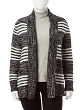 Fresh Plus-size Striped Cardigan