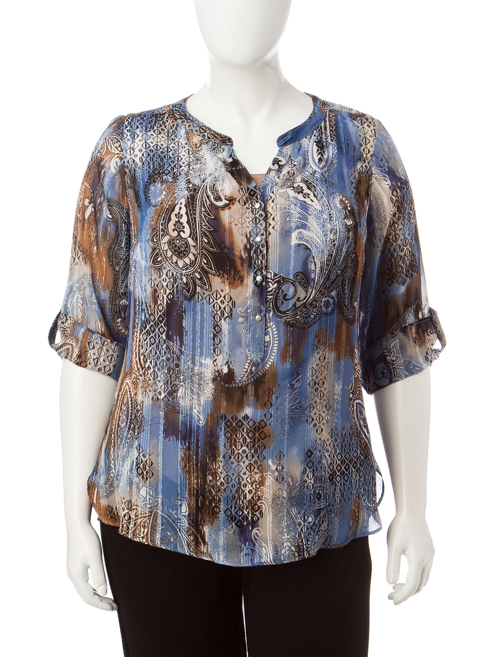 Rebecca Malone Brown / Blue Shirts & Blouses