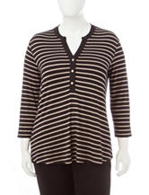 Rebecca Malone Plus-size Striped Print Knit Top