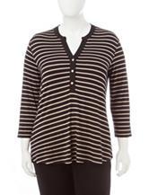 Rebecca Malone Plus-size Striped Print Knit Top