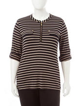 Rebecca Malone Plus-size Striped Knit Top