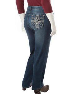 Earl Jean Plus-size Embroidered Bling Straight Leg Jeans